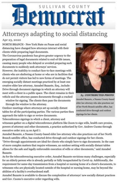 from the Sullivan County Democrat, 5/25/20: Attorneys Adapting to Social Distancing