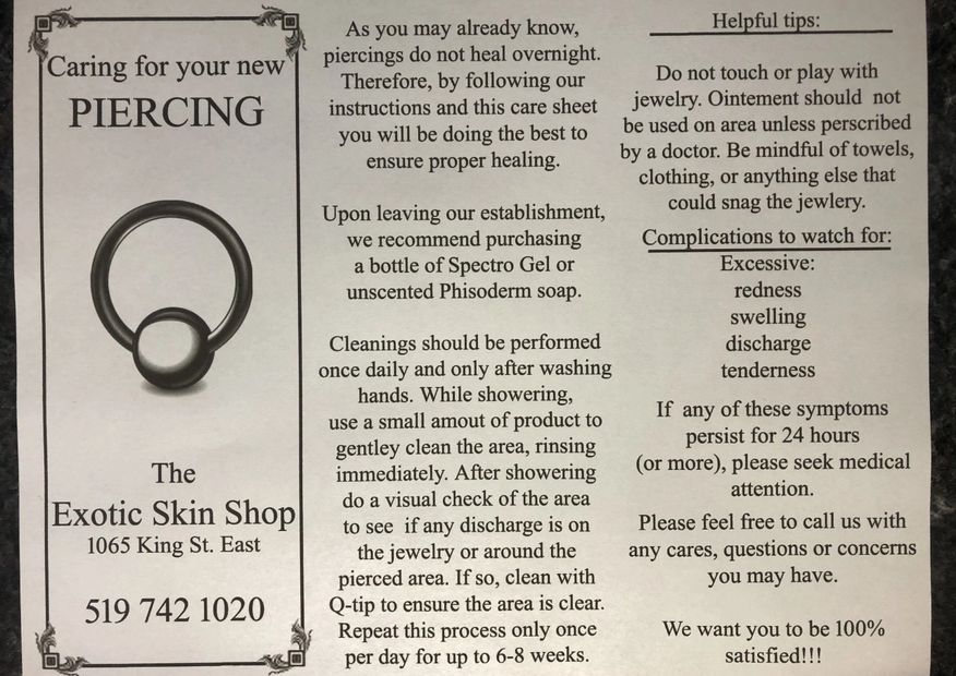Piercing Care Sheet for Proper Healing of Fresh Piercings