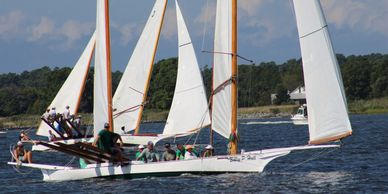 Magic calls Higgins home!  Se her in the marina or boatyard on your next trip to St. Michaels.