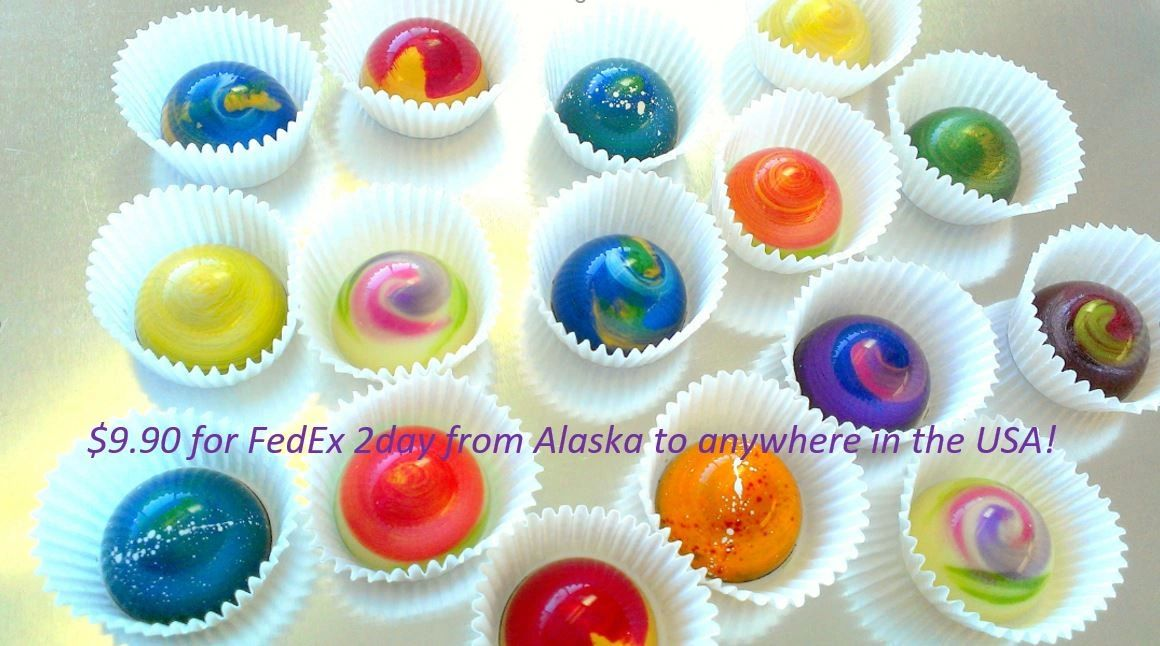 Colorful  hand-painted, high quality Aurora Chocolates inspired by Alaska's Northern Lights.