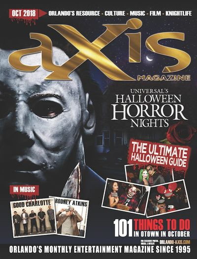 aXis Orlando October issue featuring Halloween Horror Nights, UCF Tailgate preview Rodney Atkins.