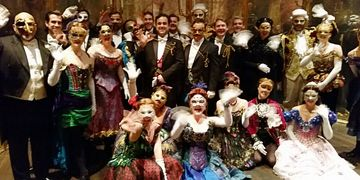 """Masquerade"" just before the opening of the 2nd act curtain."
