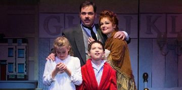 Jeff Coon as Mr. Banks, Cameron Flurry as Jane, Jacob Wilner as Michael. Photo by Mark Garvin.