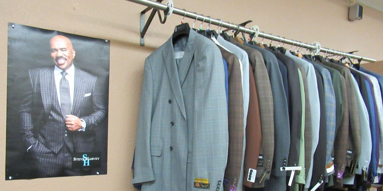 We sell the best quality suits. Our collection includes: Steve Harvey, Stacy Adams,and Statement.