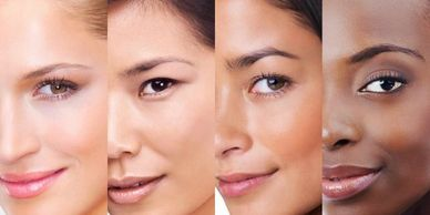 different skin types and colors  for a facial treatment