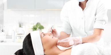 women get a microneedling facial with stem cells for wrinkles. and to tightening the skin