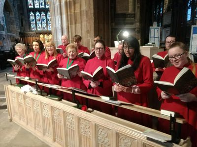The Minster Choir in rehearsal before Choral Evensong