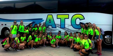 Happy group after a fun charter bus service with ATC Buses Orlando - Danzas Cles Rosario Argentina