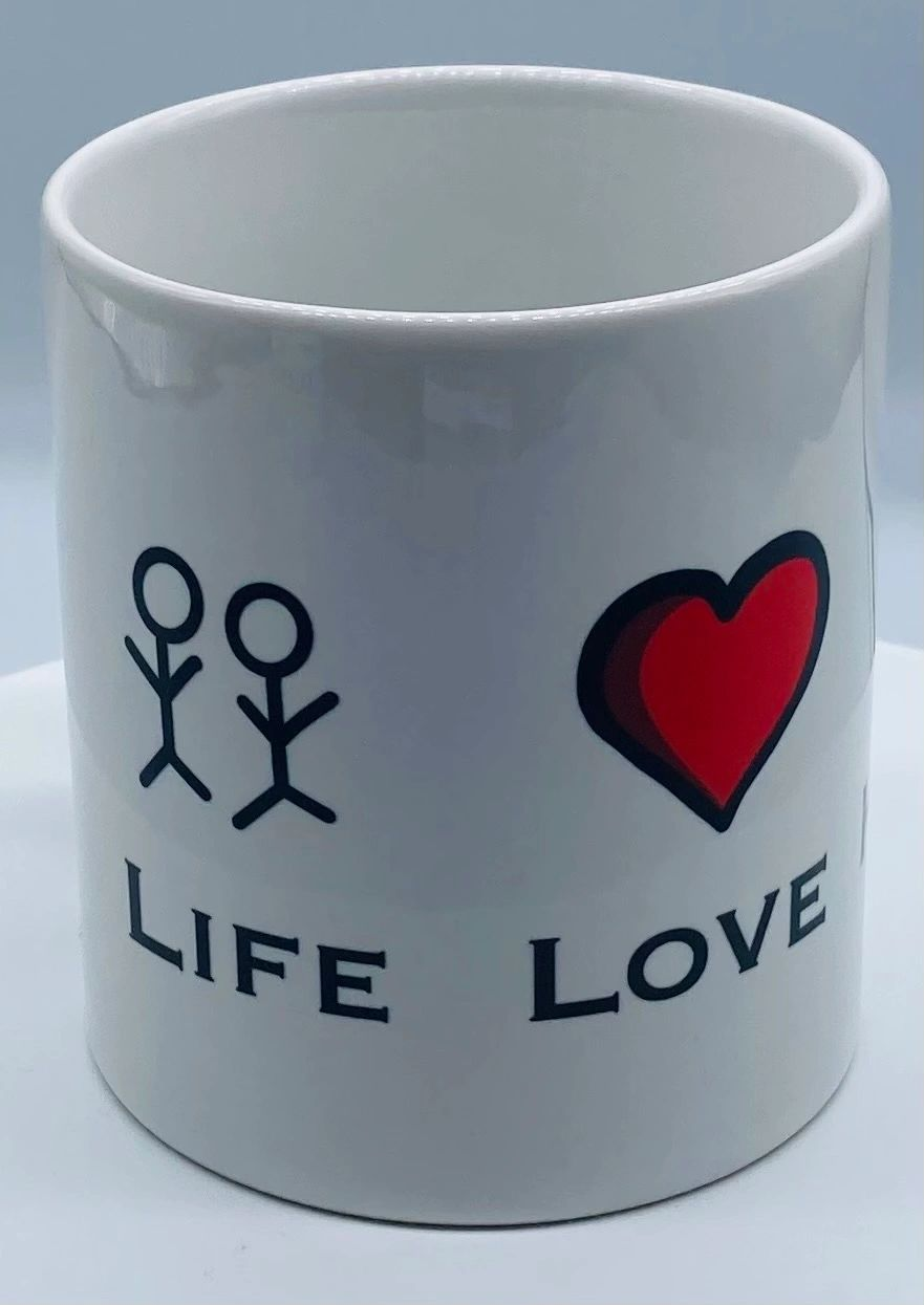 The Fifteen mug collection includes love mugs and animal mugs. This one is life, love, hug