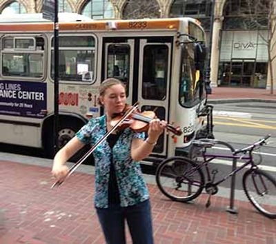 Celeste Carruth, busking in San Francisco. Photo by Ayman Mobarak