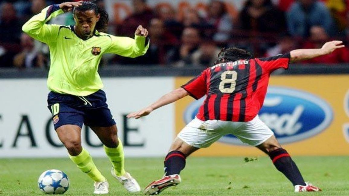 Ronaldinho against AC Milan in the 2006 Champions League Semi-Final 1st leg.