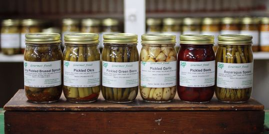 Picture of pickled vegetables (asparagus, Brussels sprouts, garlic, green beans, okra and beets.