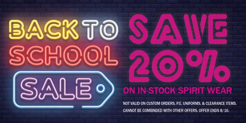 Back to school sale screen printing embroidery on-line sale