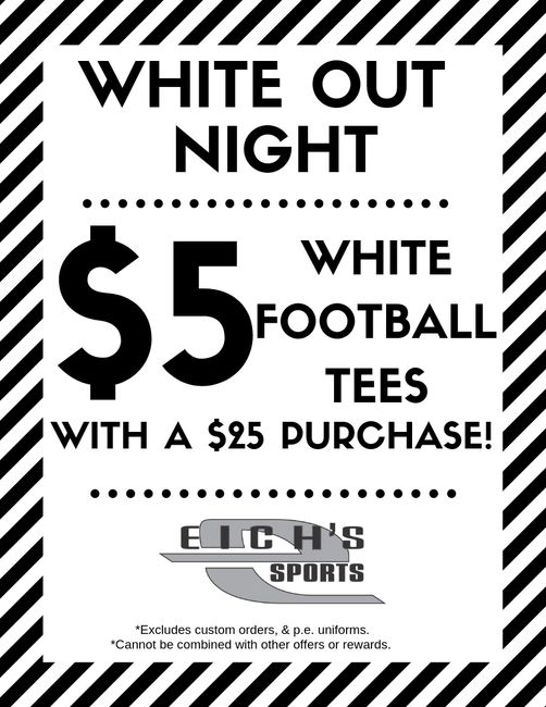 $5 White Out High School t shirts