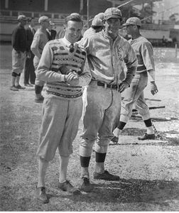 baseball legend Mickey Cochrane & photographer Bruce Murray at A's spring training Ft. Myers FL 1925