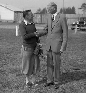 Famous baseball manager Connie Mack & photographer Bruce Murray spring training Ft.Myers Fl c 1927