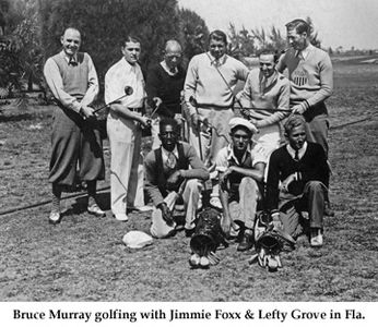 Baseball Legends Jimmie Foxx & Lefty Grove golfing with photographer Bruce Murray in Florida 1920's