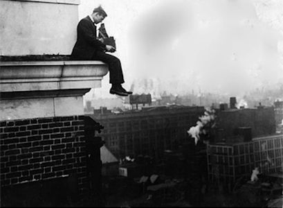 daredevil photographer Bruce Murray atop Curtis Publishing building in Washington Square Phila 1918