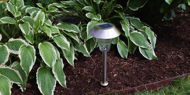 A daylight photo of a Shade Solar Light located in a shaded garden.
