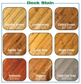 Deck Stain color options we offer.