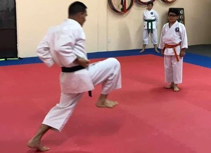 Sensei demonstrating a move in Jion