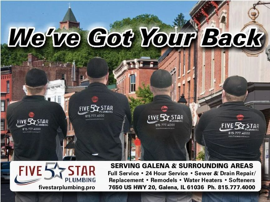 The Five Star Plumbing team. Emergency service available 24/7! Call 815-777-4000