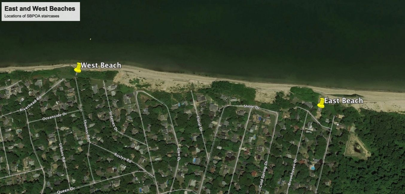 Google Earth view of SBPOA beach access points.