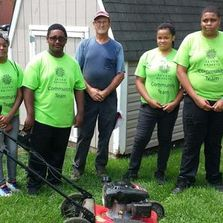 Photo of students in the lawn mowing program