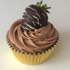 Chocolate Dipped Strawberry Cupcake by Poppy's Cupcakes.