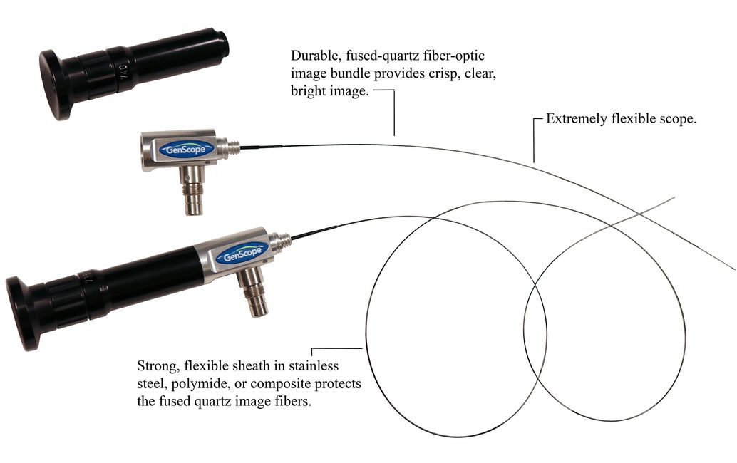 Two MicroFlex GenScope Borescopes - one with eyepiece attached - and unattached eye piece