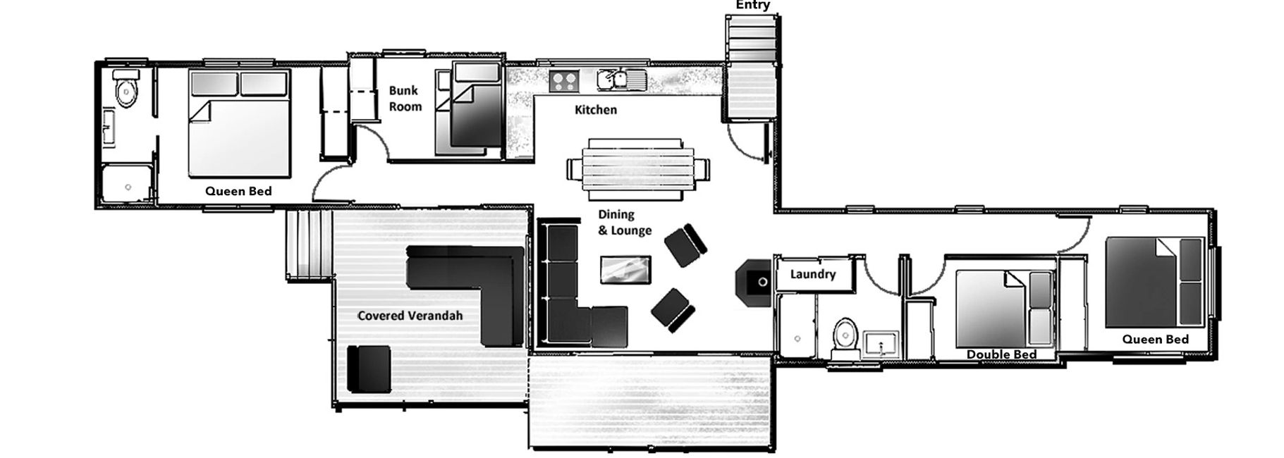 Floorplan of Tea Tree Hollow Southern Highlands Holiday Rental escape