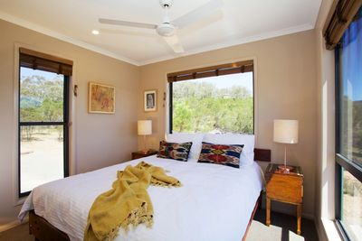Bedroom with queen bed in Tea Tree Hollow Holiday Rental House Southern Highlands NSW Australia