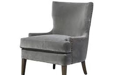 Velvet wing back accent chair