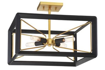 matte black and gold square semi-flush light