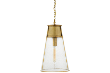 Gold and glass pendant light