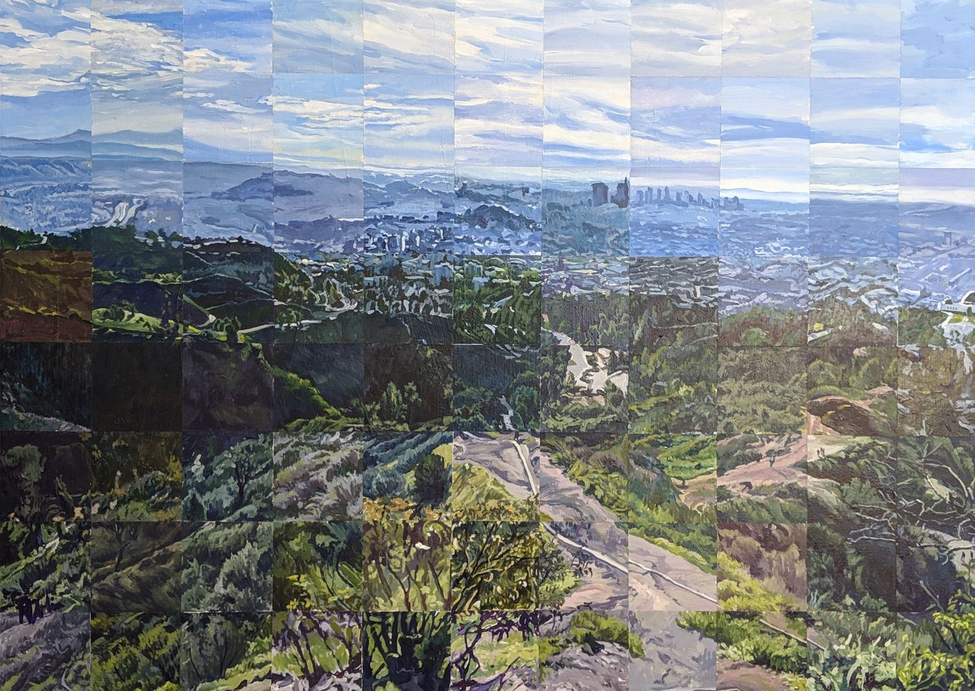 View from Mt. Hwd, Griffith Park, LA, CA Painting by the Square