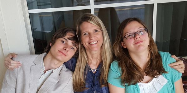 Dr. Lori with her son Mason (left) and daughter Madison (right)