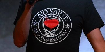 No Saint, Red heart, bleeding, cross bones, halo, devil horns, stars, fashion with Serious attitude