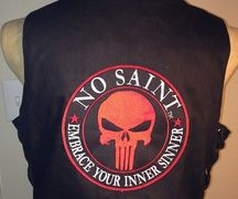 Fashion with Serious Attitude, biker gear, motorcycle vest, bad ass, #NoSaintGear