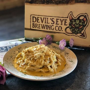 chicken and waffles Devil's Eye Brewing Co.