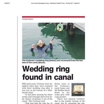 mandurah wedding ring found Lost gold jewellery found Detecting service metal detector hire Perth