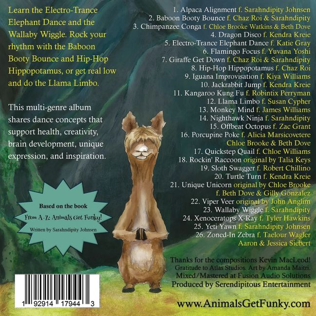 Animals Get Funky album for kid's dance and movement from the book by Sarahndipity Johnsen