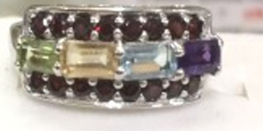 15 Garnet with Amethyst, Citrine Blue Topaz and Peridot Ring Set in .925 Sterling Silver