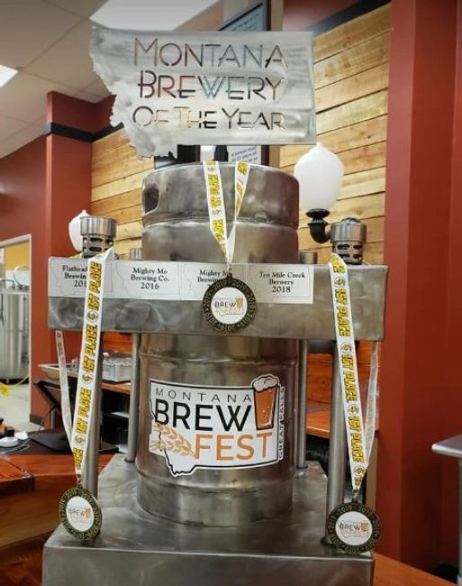 Montana Brewery of the Year traveling trophy and gold medals.