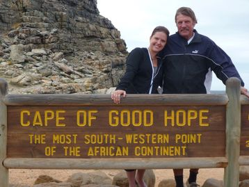 Jesper Jensen  and his daughter Belinda Willemer at the Cape of Good Hope, South Africa in 2011