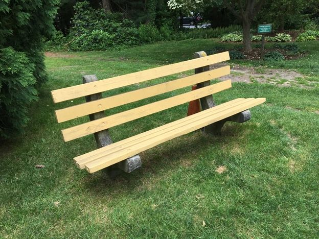 A chat bench.  If you feel like you want to sit and chat with someone new, please be seated