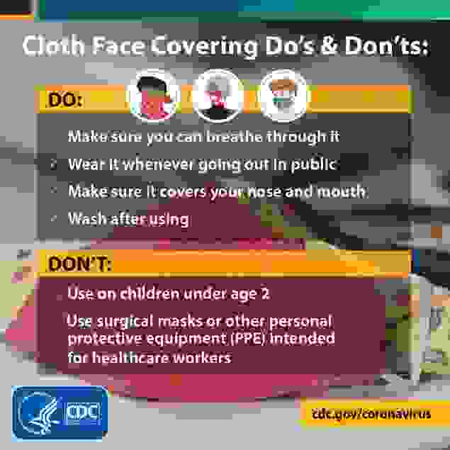Cloth Face Covering Do's and Dont's from the CDC
