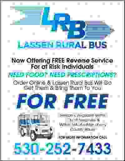 Lassen Rural Bus Now Offering Free Reverse Service for at Risk Individuals 530-252-7433