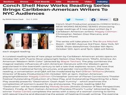Broadway World Oct 11, 2019 article about Conch Shell New Works Reading Series featured playwrights.