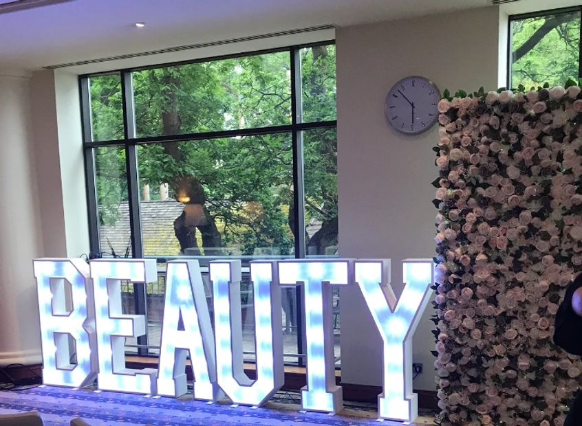 Our 'Grace' flower wall and Beauty letters for the Summer Spa Event at the Celtic Manor Hotel